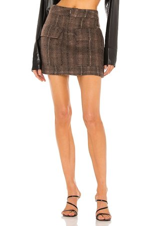 KIM SHUI Wool Mini Skirt in - Brown. Size L (also in XS, S, M).