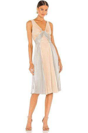 BCBG Max Azria Pleated Mini Dress in - Metallic Neutral. Size 0 (also in 2, 4, 6, 8, 10, 12).