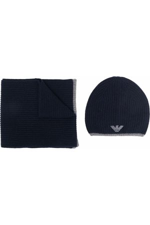 Emporio Armani Homem Chapéus - Embroidered-logo hat and scarf set
