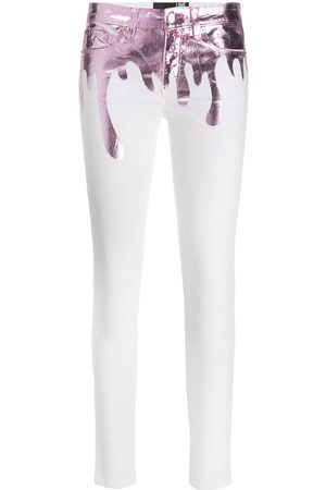 Love Moschino Paint splattered slim-fit jeans