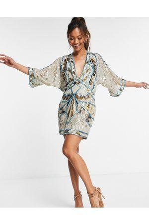 ASOS Senhora Vestidos de Festa - Embellished kimono mini dress-Multi