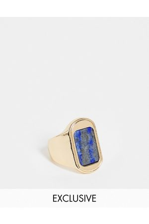 Reclaimed Homem Anéis - Inspired signet ring with blue stone in gold
