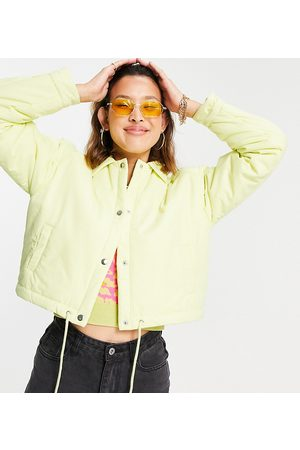 COLLUSION Cropped coach jacket in yellow