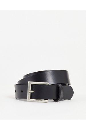 ASOS Homem Cintos - Leather skinny belt in black with silver buckle