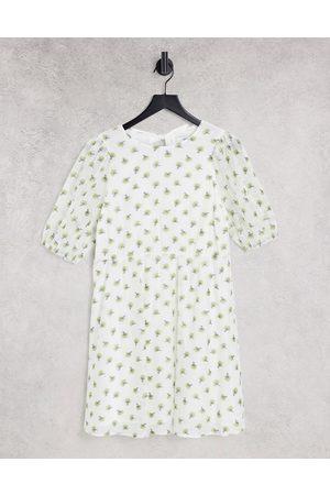 Envii Senhora Vestidos de Verão - Buttercup puff sleeve mini dress in white
