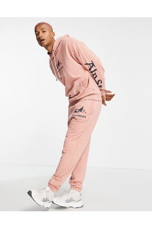ASOS Homem Camisolas com capuz - Co-ord oversized hoodie in washed pink with mountain and text prints