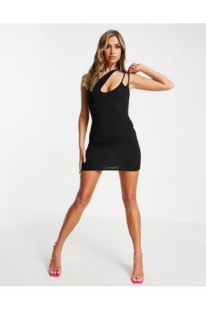 Public Desire Senhora Vestidos Assimétricos - Asymmetric cut out mini dress in black