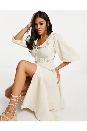 ASOS Senhora Vestidos Casual - Lace insert button through crinkle tiered maxi dress in oatmeal-Neutral