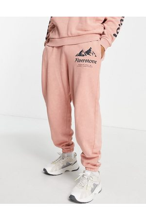 ASOS Homem Joggers - Co-ord balloon joggers in washed pink with mountain print