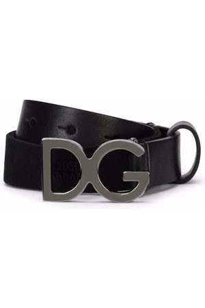 Dolce & Gabbana Menino Cintos - Logo-buckle leather-trim belt