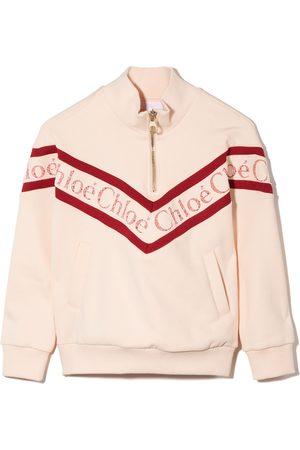 Chloé Menina Camisolas com capuz - Lace-logo high-neck sweatshirt