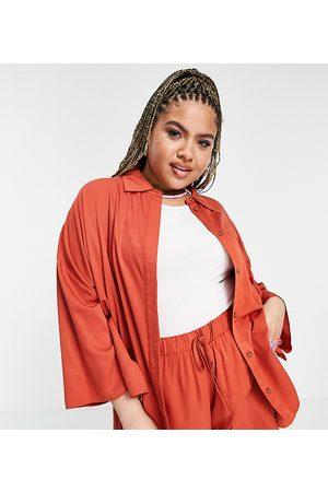 ASOS ASOS DESIGN Curve co-ord kimono sleeve overshirt in rust-Orange