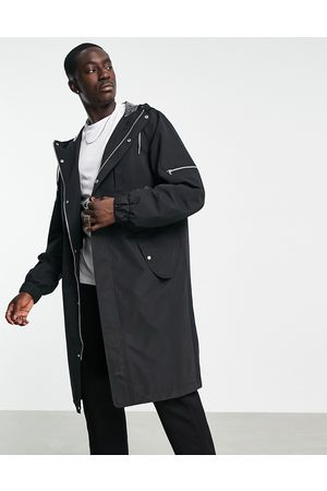 ASOS Longline parka coat in black