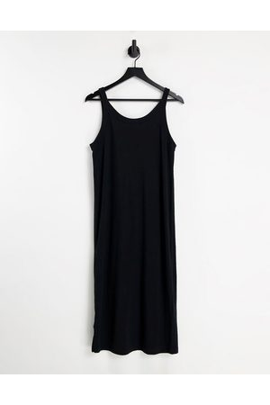& OTHER STORIES Organic cotton vest midi dress with side slit in black