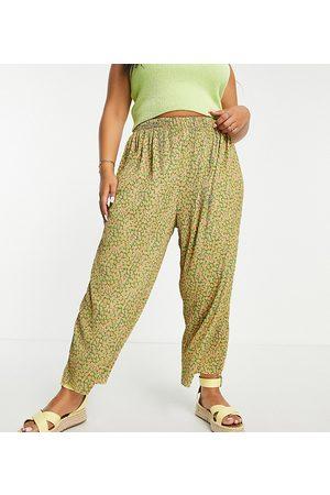ASOS ASOS DESIGN Curve plisse culotte in mustard floral-Multi