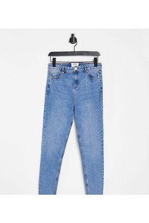 Miss Selfridge Senhora Cintura Subida - Emily Tall high waist ankle grazer skinny jean in midwash blue