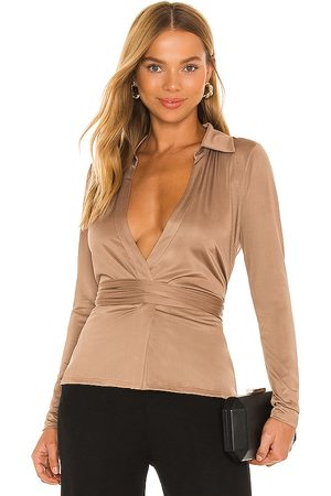 NBD Kristiana Wrap Top in - Brown. Size L (also in XXS, XS, S, M, XL).