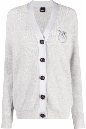 Pinko Embroidered-logo V-neck cardigan