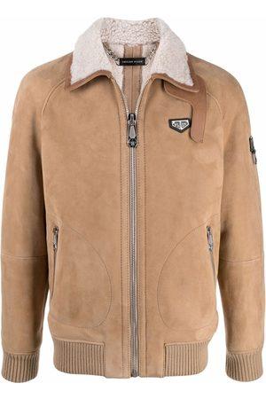 Philipp Plein Homem Casacos de Pele - Logo-plaque shearling jacket