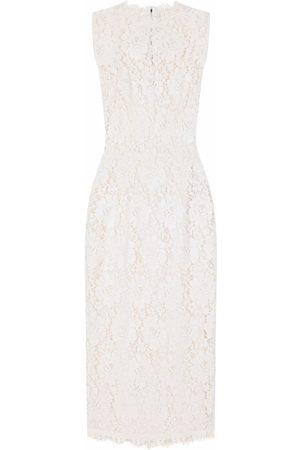 Dolce & Gabbana Floral-lace mid-length dress