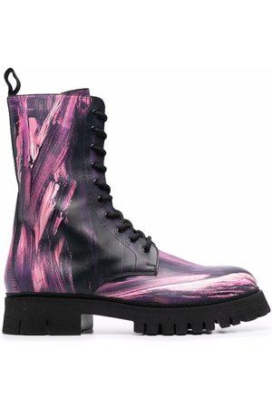Moschino Homem Botas - Paint-splatter combat boots