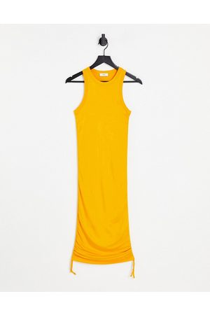 Envii Stevia ruched side midi jersey dress in yellow-Green