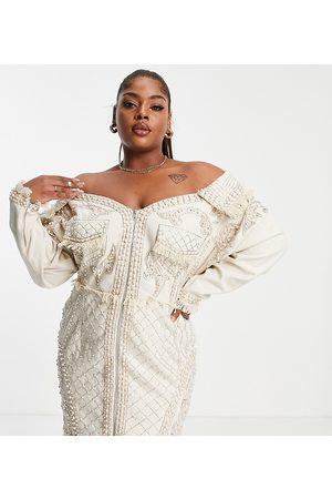 ASOS Senhora Vestidos de Festa - ASOS DESIGN Curve pearl embellished oversized denim off shoulder tux dress-White