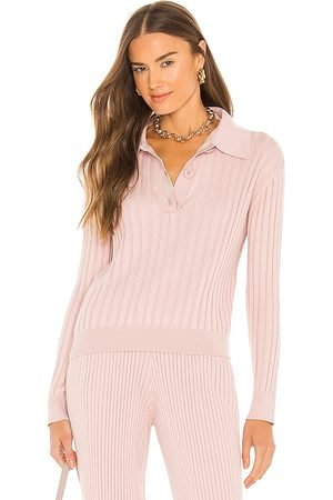 One Grey Day Astrid Polo Top in - Pink. Size L (also in M, S, XS).
