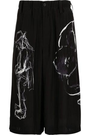 Yohji Yamamoto Homem Calções - Abstract-print silk shorts