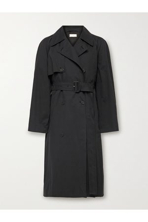 The Row Homem Gabardinas - Omar Double-Breasted Belted Cotton-Blend Twill Trench Coat