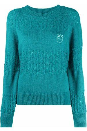 Pinko Senhora Camisolas - Embroidered-logo knitted jumper