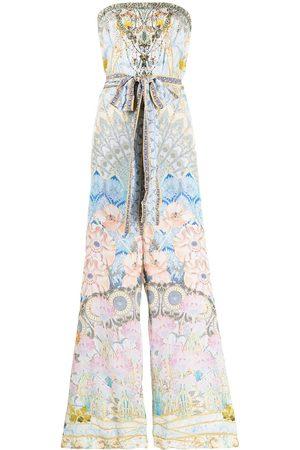 Camilla Graphic-print tie-waist strapless silk jumpsuit