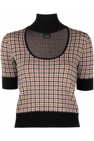 Pinko Senhora T-shirts & Manga Curta - Cut-out neck knitted T-shirt