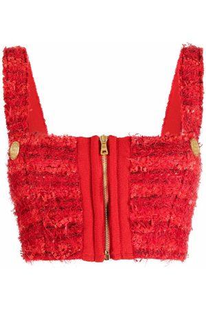 Balmain Tweed zip-up cropped vest