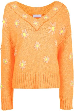 MIRA MIKATI Senhora Camisolas - Daisy-embroidered V-neck sweater