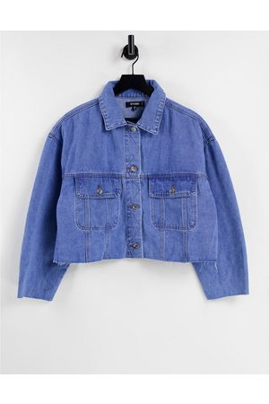 Missguided 90's denim jacket with pleat back in blue