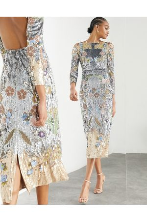 ASOS EDITION Sequin and floral placement midi dress-Multi
