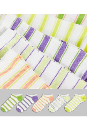 ASOS 5 pack summer stripe 5 pack trainer socks-Multi