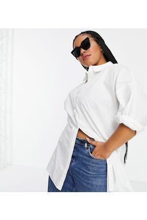 VERO MODA Organic cotton oversized shirt in white