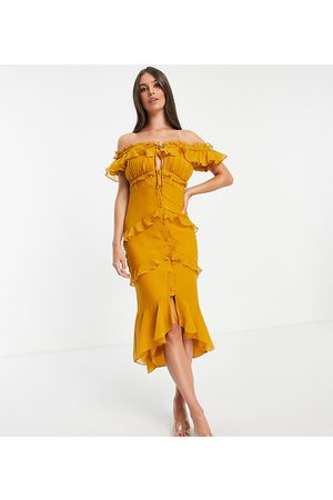 ASOS Tall ASOS DESIGN Tall off shoulder midi dress with button front and ruffle detail-Yellow