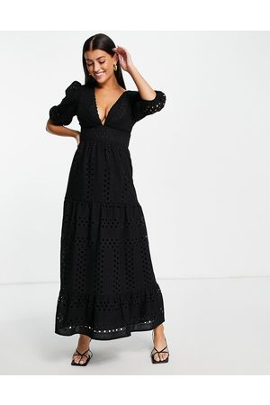 ASOS Premium plunge broderie tiered midi dress with button neck in black