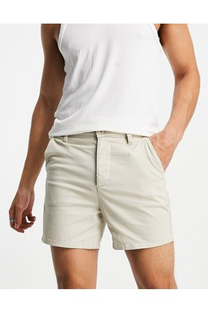 ASOS High waisted wide chino shorts in beige-Neutral