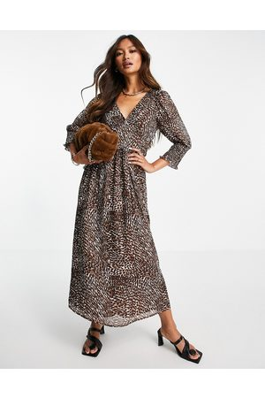 Vila Recycled blend printed midi dress with shirred volume sleeve in leopard print-Brown