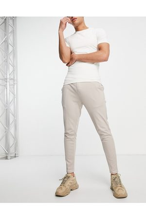 Mauvais Ribbed smart joggers co-ord in beige-Neutral