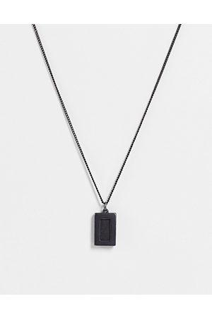 ASOS Homem Colares - Skinny 1mm neckchain with black agate pendant in matte black