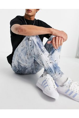 Sixth June Jersey joggers co-ord in blue tie dye with bandana print