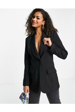 In The Style X Lorna Luxe contrast lapel fitted longline blazer dress in co ord black