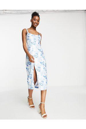 ASOS DESIGN Floral jacquard midi dress with corset detail-Multi