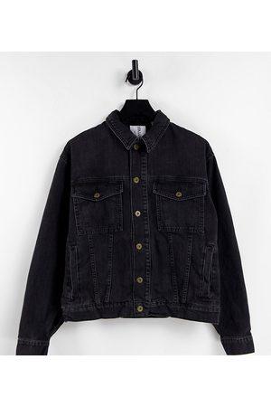 Collusion Unisex oversized denim jacket in washed black