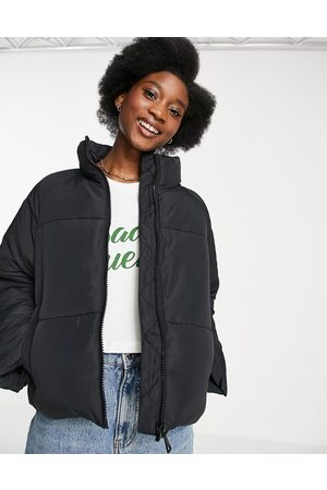 Monki Sue recycled short padded jacket in black
